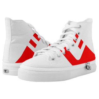 White and Red Treadz Hi-Top
