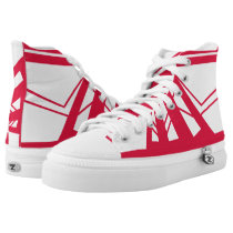 White and Red Triad High Top
