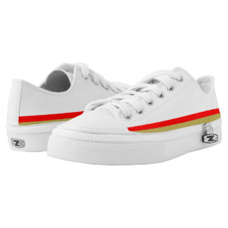 White and Red with Gold Trim Lo-Top Printed Shoes