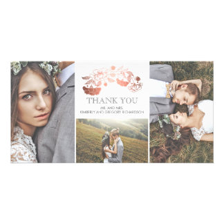 White and Rose Gold Floral Wedding Thank You Card