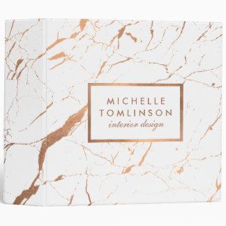 White and Rose Gold Marble Designer Binder