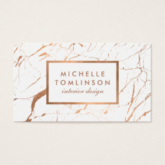 White And Rose Gold Marble Designer Business Card