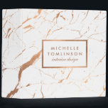 """White and Rose Gold Marble Designer Personalized Binder<br><div class=""""desc"""">Coordinates with the White and Rose Gold Marble Designer Business Card Template by 1201AM. Your name or business name is elegantly displayed over a white and faux roes gold background for a very chic aesthetic. The organic marble pattern feels luxurious and rich on this stylish customizable binder. &#169; 1201AM CREATIVE...</div>"""