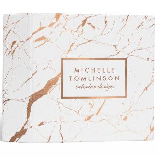 White and Rose Gold Marble Designer Personalized Binder