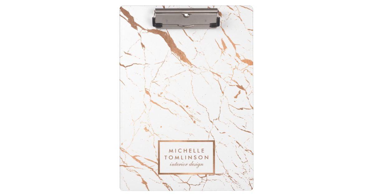 Personalized Street Signs >> White and Rose Gold Marble Designer Personalized Clipboard | Zazzle.com