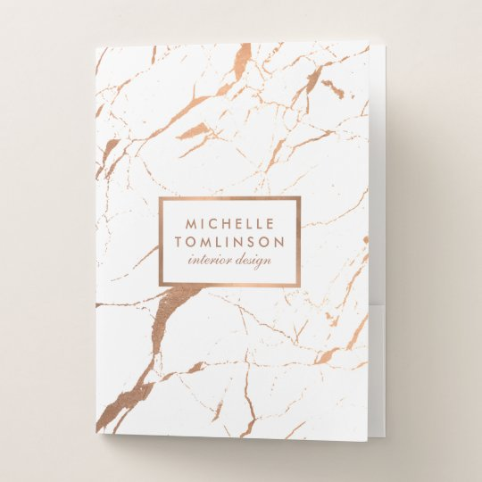 White And Rose Gold Marble Designer Personalized Pocket