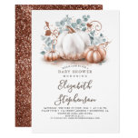 White and Rose Gold Pumpkins Fall Baby Shower Invitation