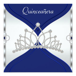 White and Royal Blue Quinceanera Invitations