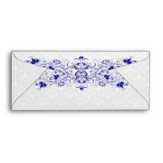 White And Royal Blue Vintage Damasks And Swirls Envelope