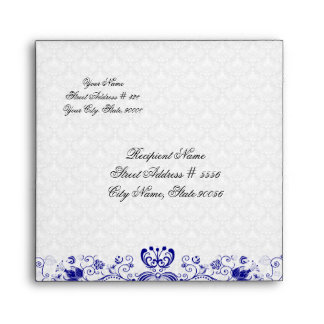 White And Royal Blue Vintage Damasks And Swirls Envelopes