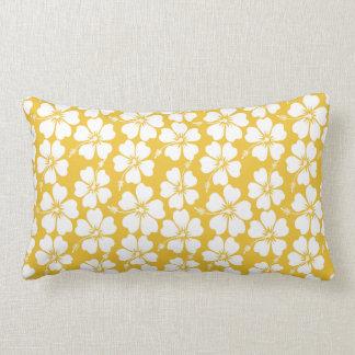 White and Saffron Hibiscus Pattern Pillows