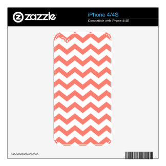 White and Salmon Chevron Skins For The iPhone 4