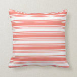 [ Thumbnail: White and Salmon Striped/Lined Pattern Pillow ]