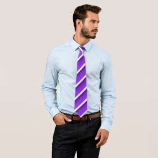 White and shades of purple striped, double neck tie