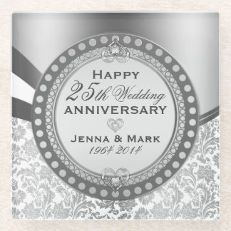 White And Silver 25th Wedding Anniversary Glass Coaster