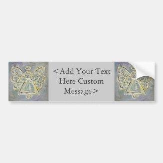 White and Silver Angel Bumper Sticker