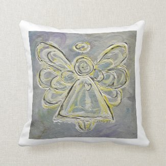 White and Silver Angel Decorative Throw Pillow