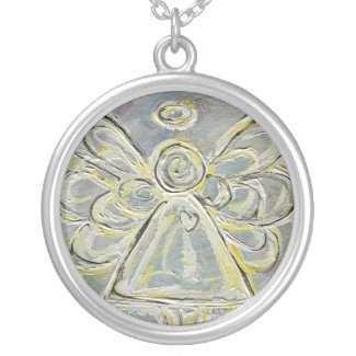 White and Silver Angel Pendant Necklace