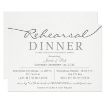 white and silver Elegant Script Rehearsal Dinner Card