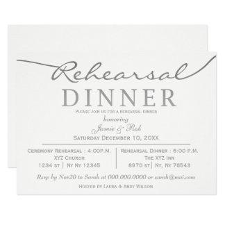 white and silver Elegant Script Rehearsal Dinner Invitation