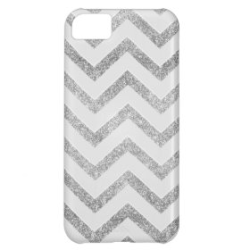 White and silver faux glitter chevron pattern. iPhone 5C cover