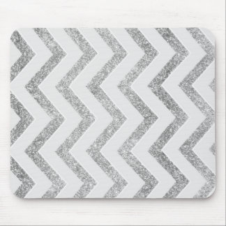 White and silver faux glitter chevron pattern. mouse pad