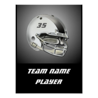 White and Silver Football Helmet Posters