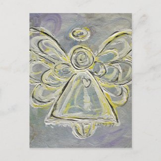 White and Silver Guardian Light Angel Postcard