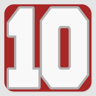 White and Silver Jersey Number 10 Square Sticker