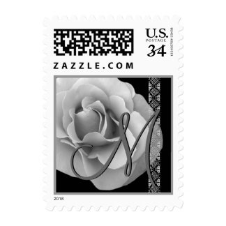 White and Silver Rose Lace Monogram Stamp