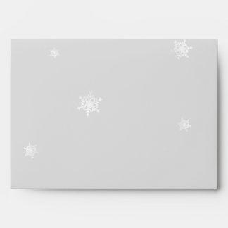 White and Silver Snowflake Wedding Envelope