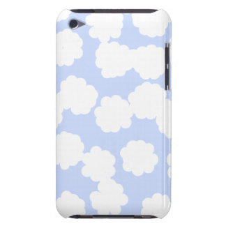 White and Sky Blue Clouds Pattern. Barely There iPod Cover