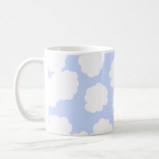 White and Sky Blue Clouds Pattern. Coffee Mug