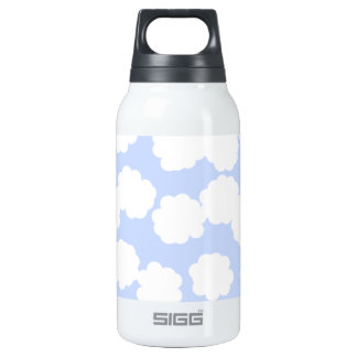 White and Sky Blue Clouds Pattern. Insulated Water Bottle