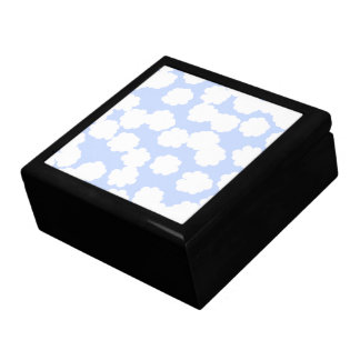 White and Sky Blue Clouds Pattern. Jewelry Boxes