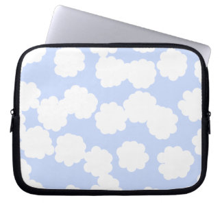 White and Sky Blue Clouds Pattern. Computer Sleeves