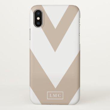 White and Tan Chevron iPhone X Case