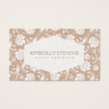 Professional Business White And Tan Floral Damasks Pattern 2 Business Card
