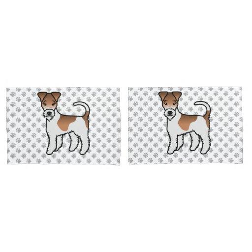 White And Tan Wire Fox Terrier Cute Cartoon Dog Pillow Case