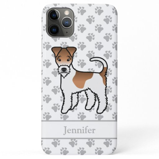 White And Tan Wire Fox Terrier Cute Dog & Name iPhone 11 Pro Max Case