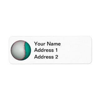 White and Teal Baseball / Softball Label