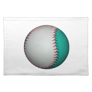 White and Teal Baseball / Softball Placemat