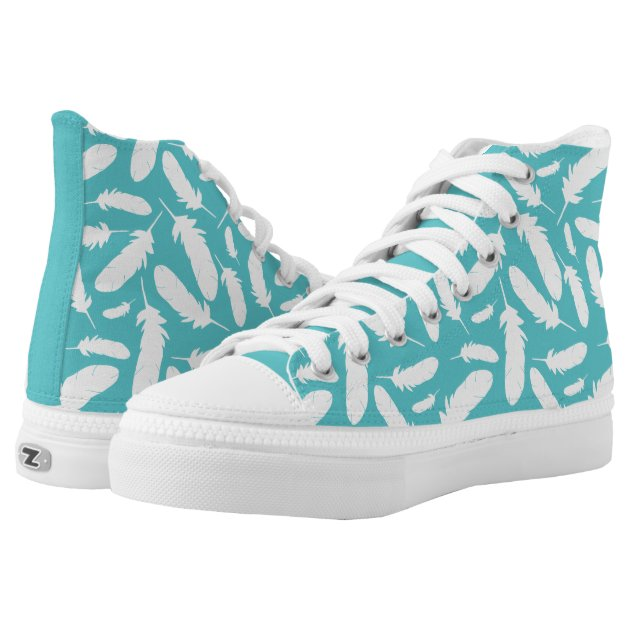 White and Teal Blue Feathers Patterned