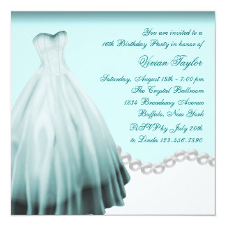 White and Teal Blue Sweet Sixteen Birthday Party Card