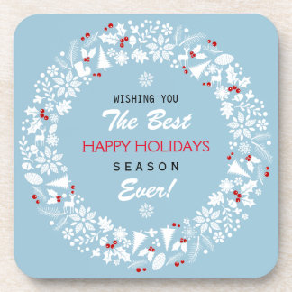 White And Teal Christmas Wreath Happy Holidays Beverage Coaster