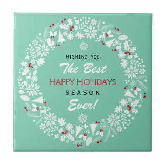 White And Teal Christmas Wreath Happy Holidays Tile