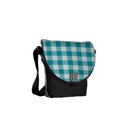 White and Teal Jumbo Check Gingham Courier Bag
