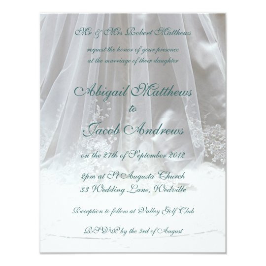 White And Teal Lace Wedding Veil Wedding Invite