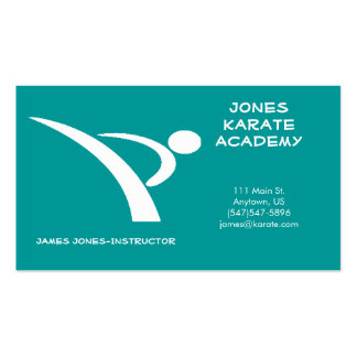 White and Teal Martial Arts Business Card