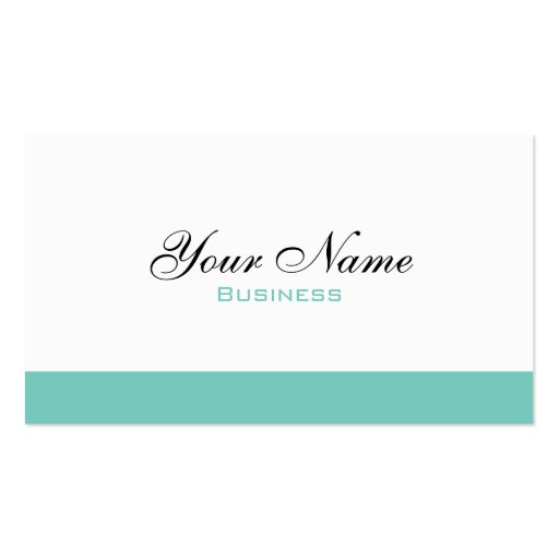 White And Turquoise Minimalist Business Card